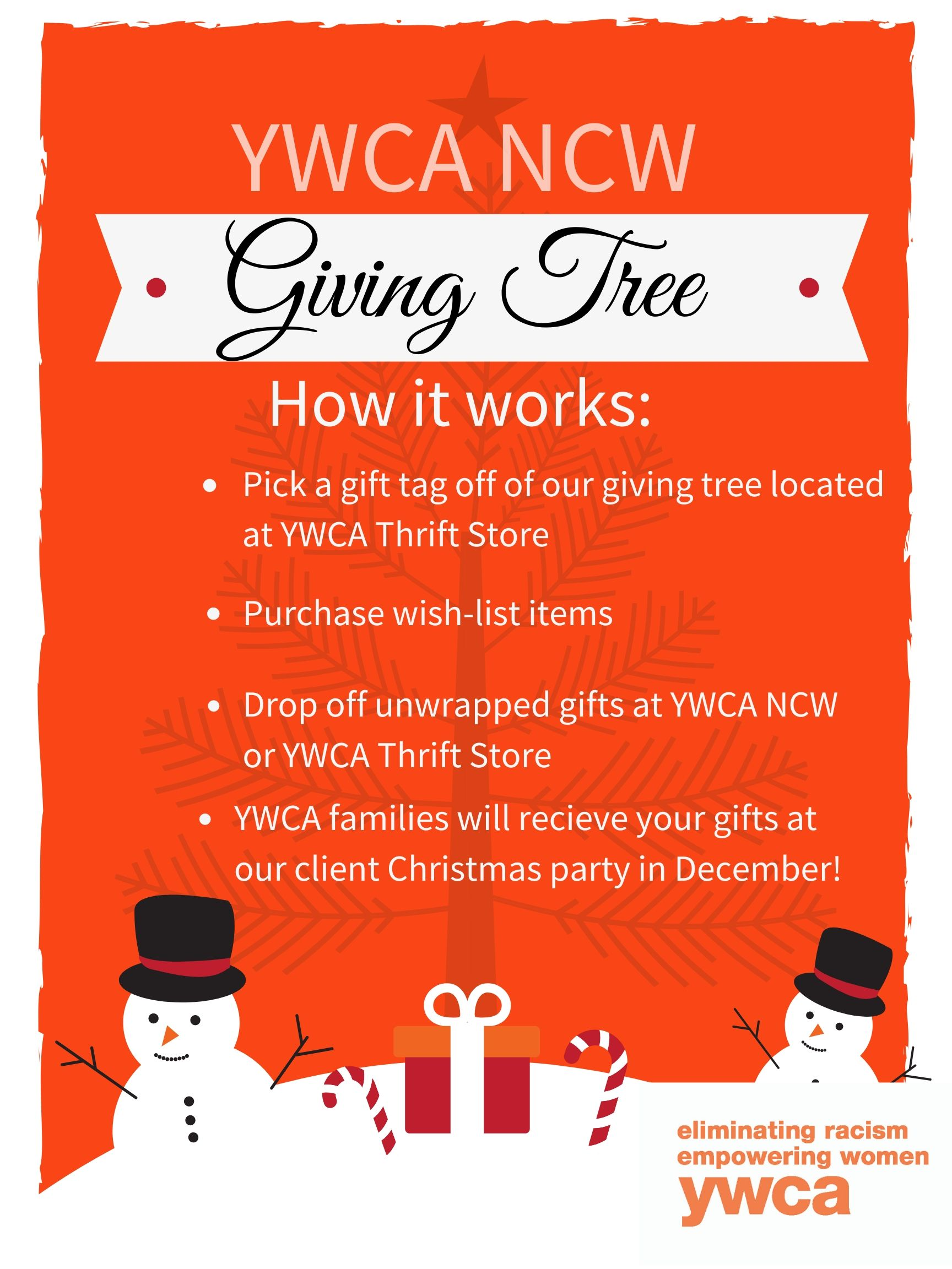 YWCA NCW December Giving Tree